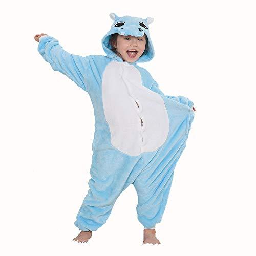Cartoon-Stück-Pyjamas, Blaue Hippo-Tierform-Kostüm, Familien-Pyjamas-Partykleidung im Alter von 3-12 Jahren,Blue,125# ()