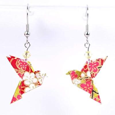 Boucles d'oreilles colombes origami rouges et dorées - crochets inox