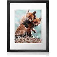 Esonmus Black marco de fotos de madera marco de fotos con tapete blanco para la sala de estar del dormitorio (9.8 * 7.9 inches)