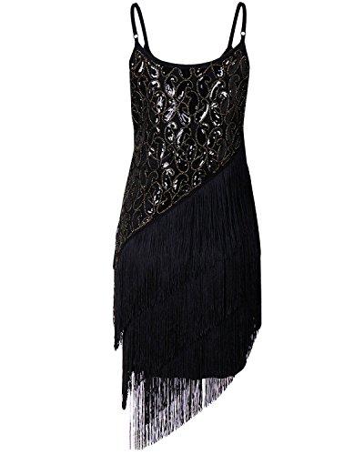 BIUBIU Damen Vintage Flapper Paillettenkleid Cocktail Ballkleid Partykleid Schwarz Silber