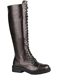 Stiefelparadies Damen Schnürstiefel mit Blockabsatz Profilsohle Flandell 98df3f474b