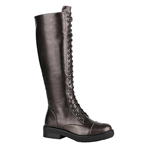 Damen Stiefel Schnürstiefel Boots Plateau Vorne Leder-Optik Schuhe 148862 Grau Metallic Glänzend...
