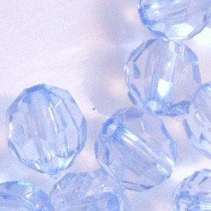 25g en acrylique à facettes perles rondes–Bleu pâle–kb0707/8mm