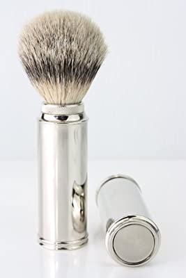Men's Shave Silver tip Badgher Hair Travel Shaving Brush in Nickel Plated Handle