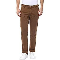 Spykar Mens Brown Slim Fit Mid Rise Trousers (Rico) (30)