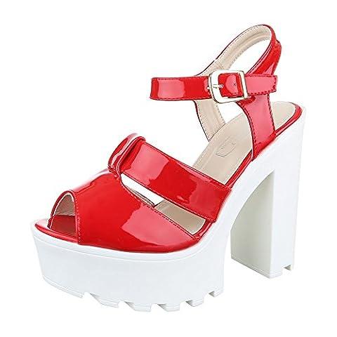 High Heel Sandaletten Damen Schuhe Plateau Pump Plateau Schnalle Ital-Design Sandalen / Sandaletten Rot, Gr 38, H296-