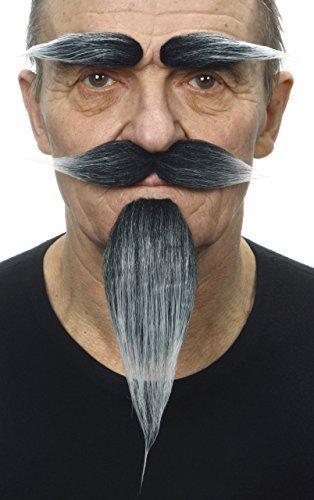 Selbstklebende Neuheit Hairy Russian Fälscher Bart Fälscher Schnurrbart und Fälscher Augenbrauen für Erwachsene Salz und Pfeffer Farbe (Leichtes Salz Kostüm)