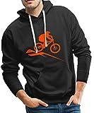 Spreadshirt Mountainbike MTB Downhill Fahrrad Männer Premium Hoodie, S, Schwarz