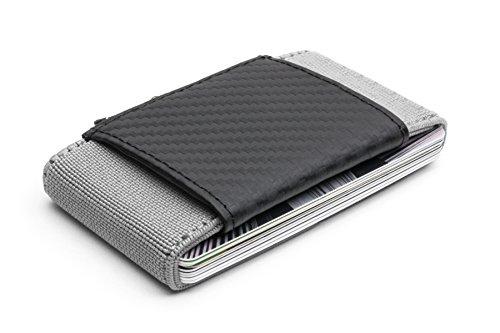 Cartera porta documentos Pocketo de fibra de carbono elástico. Diseño minimalista y durable. Ideal para deporte y viajes (Gris Claro)