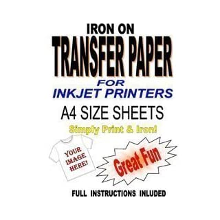 Inkjet Printable Iron On T Shirt & Fabric Transfer Paper For Light Fabrics 5 A4 Sheets