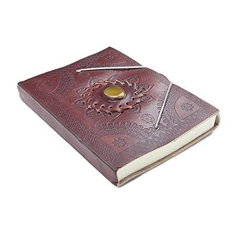 81stgeneration Journal en Cuir avec Motifs Floraux en Relief Fait à la Main Ambre Papier Recyclé Notebook A5 de 120 pages (15cm x 20cm)
