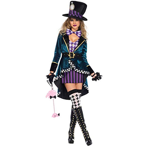 QWEASZER Halloween Alice Mad Hatter Damen Kostüm Tea Party Cosplay Erwachsene Kostüm Sexy Uniform Spiel Cos Prom Bar Tanzen Kleid,Blue-M