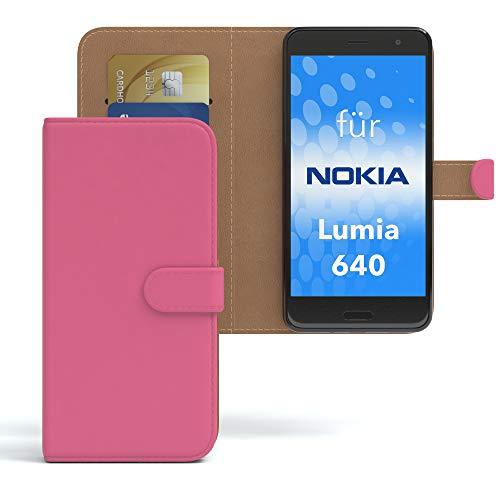 EAZY CASE Hülle für Nokia Lumia 640 Dual SIM Bookstyle mit Standfunktion, Book-Style Case aufklappbar, Schutzhülle, Flipcase, Flipstyle, Flipcover mit 2 Kartenfächern aus Kunstleder, Pink
