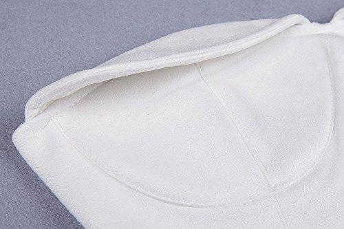 HLBandage Women's Sexy Strapless Suede Knee Midi Bandage Dress Blanc