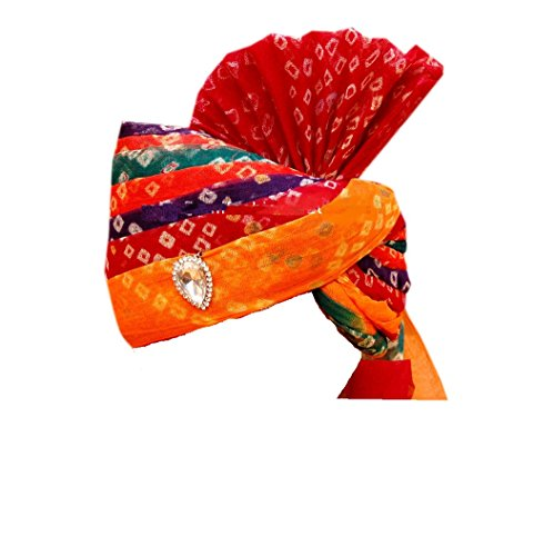 Rajasthani Wedding Safa Men's Cotton Wedding Turban (Sh-663_Multi Color_Free Size)