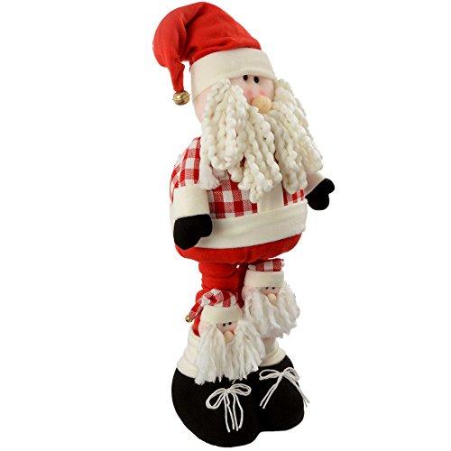 Werchristmas - babbo natale con gambe estensibili, pupazzo natalizio che sta in piedi da solo, decorazione da terra, dimensioni: 50 - 100 cm, colore rosso/bianco