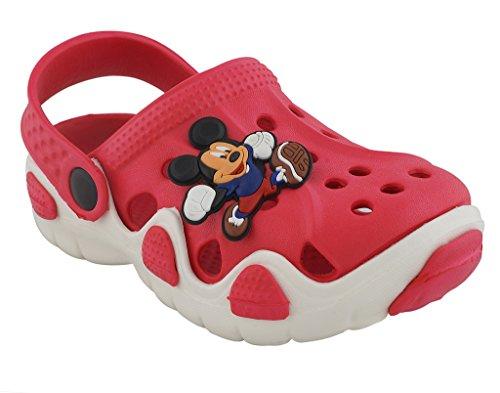 Lil Firestar Unisex Kids Eva Sandals Crocs Clogs_Red & White_11KIDSUK/29EU  available at amazon for Rs.419