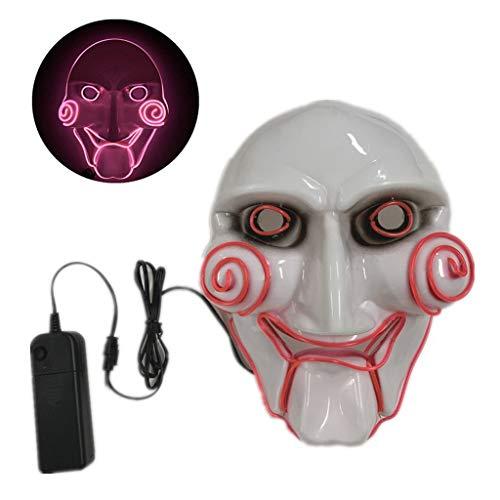 Besttse LED Halloween Clown leuchtende Maske Kaltlicht Kunststoff Street Dance Scary Skull Maske für Festival Cosplay Kostüm rose (Licht Bis Phantom Kostüm)