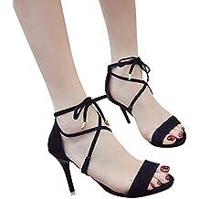 Sandalias Tacon Mujer Correas Cruzadas Sandalias Verano Correa Tobillo Zapatos Plataforma Tacones Faux Gamuza