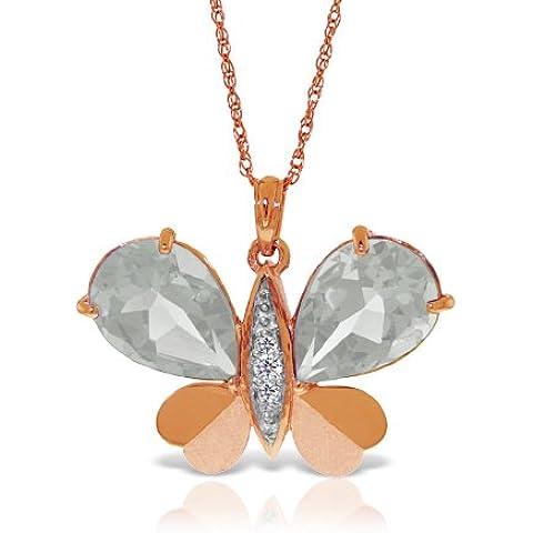 QP Jewellers Natural Diamond & Collana con pendente in topazio bianco, oro rosa 9 k, 11,0ct-5495R