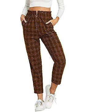 Pantalones para Mujer Otoño Invierno 2018 Moda PAOLIAN Casual Pantalones Vestir Cintura Alta Estampado Cuadros...