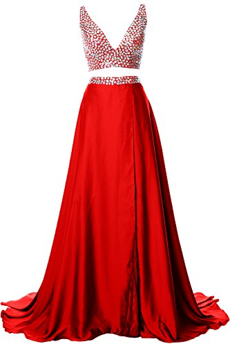 MACloth Gorgeous 2 Piece Long Prom Dress Straps V Neck Formal Party Evening Gown red