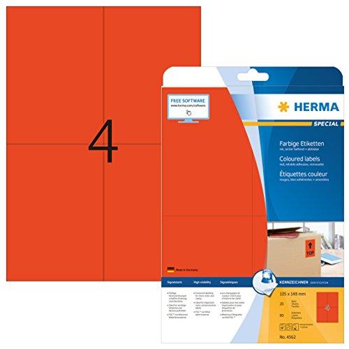 Herma 4562 Farbetiketten ablösbar (105 x 148 mm auf DIN A4 Papier matt, selbstklebend) 80 Stück auf 20 Blatt bedruckbar, Rot