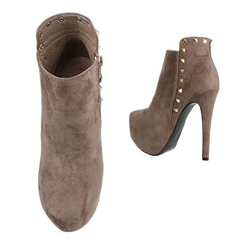 High Heel Stiefeletten Damenschuhe Schlupfstiefel Pfennig-/Stilettoabsatz High Heels Reißverschluss Ital-Design Stiefeletten Beige