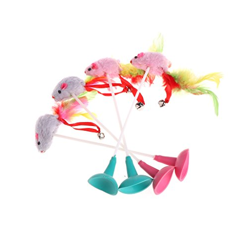 kalttoy Colorful Cat Pet Spielzeug Fake Maus mit Saugnäpfen Funny Spielen Ring Lebendige Werkzeug