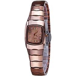 binlun Frauen 'S ROSE rot Vintage Wolfram Stahl Uhr mit Rechteck case-champagne