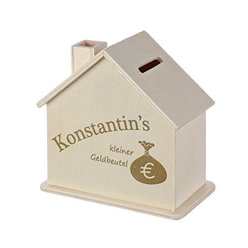 Spardose Haus mit Gravur - Sparbüchse aus Holz - Geschenk für jeden Anlass - Motiv kleiner Geldbeutel