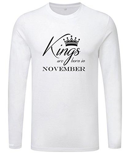 Kings are born in November - Geburtstag - Herren Langarmshirt Weiß