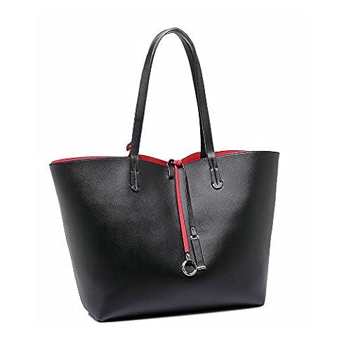 LeahWard® Women's Large Shoulder Shopper Bags Handbag For School College Holiday (BLACK)