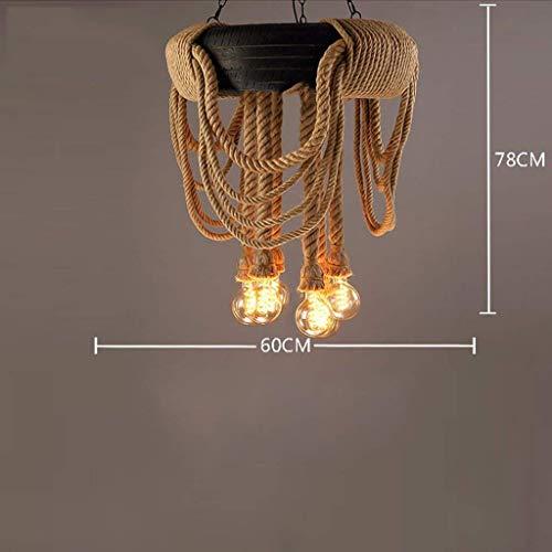 WENYAO Retro Industrie Wind Hanfseil Kronleuchter Persönlichkeit Kreative Loft Reifen Led-lampen Internet Cafés Restaurant Bar Club Cafe Bekleidungsgeschäft Kronleuchter (Mit Lichtquelle 6 Köpfe)