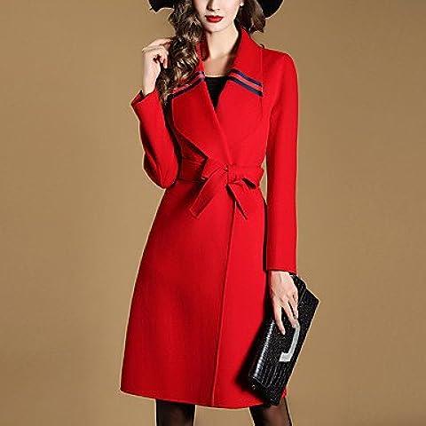 Da Wu Jia señoras cubra la mujer va simple zanja Coat,Solid Peter Pan Collar de manga larga de lana roja de invierno / Poliéster , 2xl