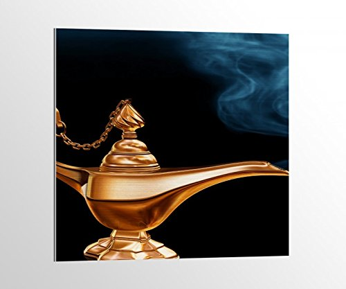 mer Märchen Lampe Dschinn Bild auf Aluminium AluDibond UV Druck gebürstet Wandbild Metall Effekt 16A2064, Alu-Dibond 1:50x50cm ()