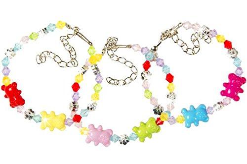 8x Armband Bär, Mitgebsel zur Mädchenparty, Kinderparty, Geburtstagsmitgebsel für Mädchen