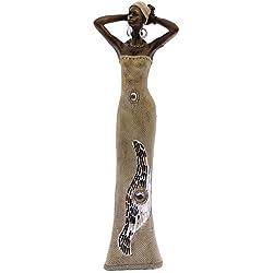 DRW - Figura de una Africana con Las Manos en la Cabeza de Resina en Color Beige 11x7x45 Cm