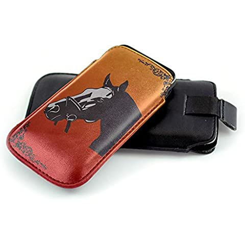 Jockey 10002, Cavallo, Nero Universal Eco Leather Holster Sleeve Slide In Pouch with Colorful Design and Pull Tab Strap Compatible for Apple iPhone 4 4S