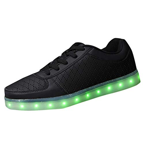 Zapatos de hombre JiaMeng Zapatillas de Deporte para Hombres onales de la Pareja Carga USB Deportes Zapatos radiantes Luces de Colores LED Zapatos(Negro,EU44=CN45)