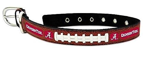 CFB Alabama Crimson Tide Classic Leather Medium Football Collar, One Size, Black