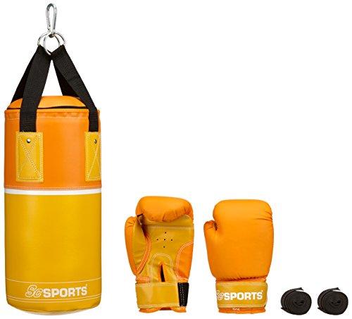 ScSPORTS DG01 Box-Set II. Wahl für Kinder Boxsack Boxhandschuhe Boxbandagen Tasche 3 kg Kunstleder 6-10 Jahre