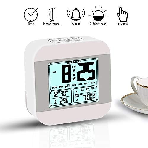 Wecker Digital,Pomisty LED Wecker Digital Batterie ,Alarm Clock Digital Digitaluhr ,Wecker LED Display mit Datum/Woche/Temperatur/Feuchtigkeit, 12/24H und 7 Einstellbare Helligkeit