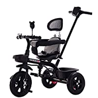 MC-F Kids Tricycle, with Removable Parents Push Handle Bar, Children 3 Wheel Pedal Bike, for 1-6 Years Kids and Toddlers - 25 kg Capacity,Black