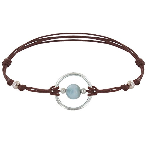 Schmuck Les Poulettes Armband Link Silber Kreis und Larimar Perle - Dunkelbraune
