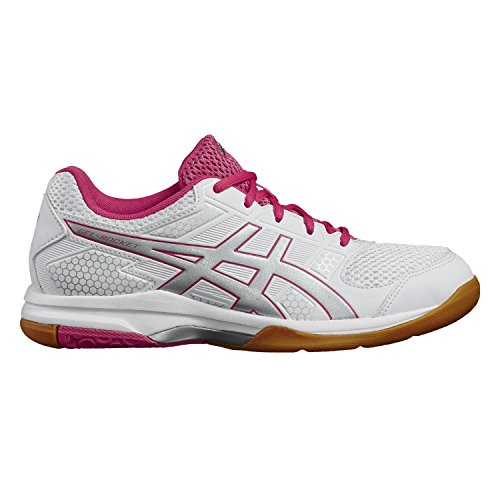 White Gel rouge Volleyballschuhe Asics Rocket 8 Damen silver Red Elfenbein 4qnPwYT