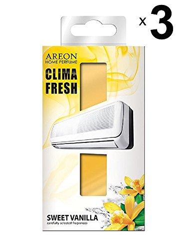 Preisvergleich Produktbild Areon Klima Fresh Süße Vanille Lufterfrischer Haus Klimaanlage Original Parfum Geruch gelb Haus Wohnzimmer Zimmer Büro Shop Langlebig Moderne (Sweet Vanilla Pack von 3)