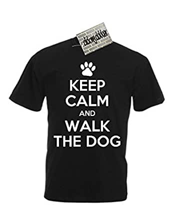 Keep Calm And Walk The Dog - Great Gift For Pet Lover - T-Shirt, Mens, Black, Small
