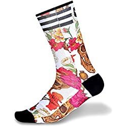 Taymory Skulls and Roses Calcetín Sublimado Caña, Mujer, Multicolor, L (42-44)