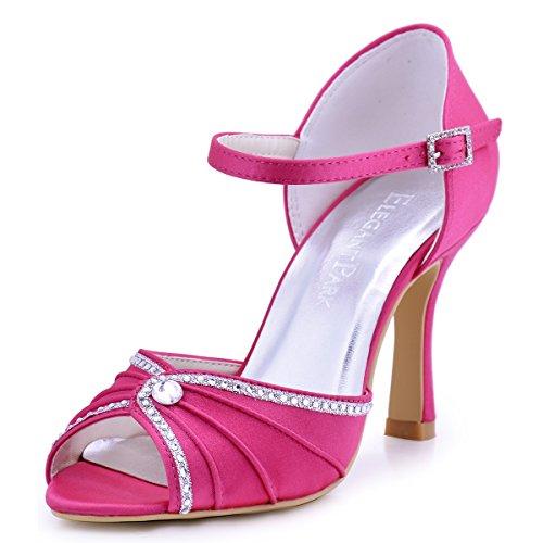 ElegantPark EL-033 Damen Peep Zehen Strass Ankle Straps Pumps Hoch Absatz Satin Sandalen Brautschuhe Rosa Gr.36 Ankle Strap Peep Toe Sandalen